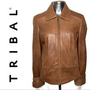 Tribal Brown Leather Zipper Front Coat